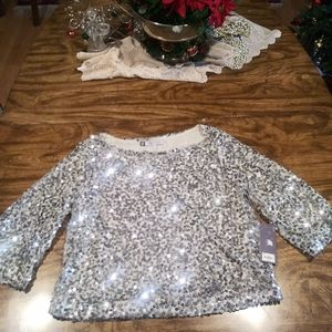 JLo silver metallic sequin beads sequin top blouse